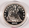 1861 CONFEDERATE SILVER PROOF DESIGN ON REVERSE, OBVERSE SEATED HALF DOLLAR COPY