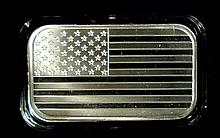 AMERICAN FLAG , 1 Oz .999 SILVER INGOT, PROOF FINISH