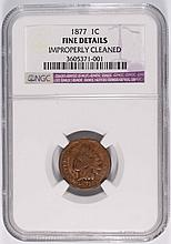 1877 INDIAN CENT NGC FINE, CLEANED