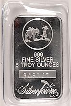 A FIVE OUNCE SILVERTOWNE .999 SILVER BAR,  A GREAT  SIZE  FOR A GIFT