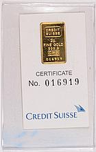 CREDIT SUISSE 2 GRAM .999 GOLD INGOT WITH CERT IN VINYL HOLDER