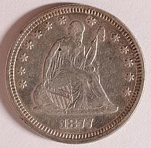 1877 SEATED LIBERTY QUARTER, AU
