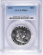 1953 FRANKLIN HALF DOLLAR, PCGS PROOF-64!
