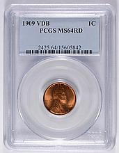 1909-VDB LINCOLN CENT, PCGS MS-64  RED!