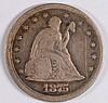 1875-S 20c CENT PIECE, F/VF NICE!