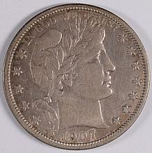 1907-D BARBER HALF DOLLAR XF/AU-45 SCARCE!