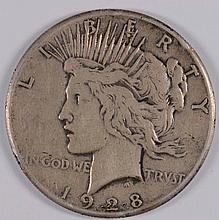 1928 PEACE DOLLAR VF, NICE ORIGINAL COIN