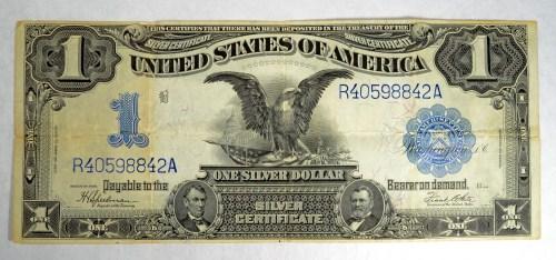1899 $1 SILVER CERTIFICATE BLACK EAGLE FINE HAS PINHOLE