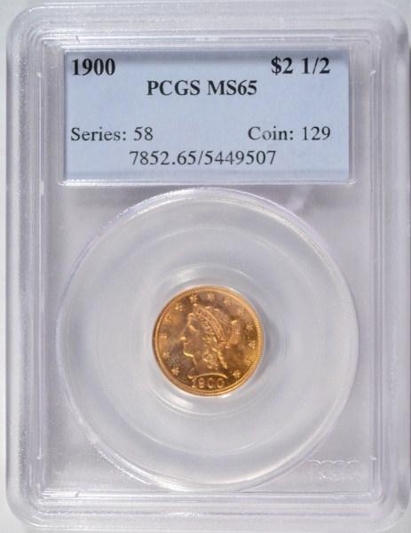 1900 $2 1/2 Gold PCGS65 GS = $1900