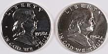 ( 2 ) 1953 FRANKLIN HALF DOLLARS, BU