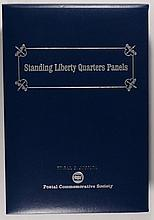 STANDING LIBERTY QUARTER PANE IN FANCY ALBUM, ( 13 ) STANDING LIBERTY QUARTERS