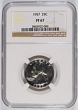 1957 WASHINGTON QUARTER, NGC PROOF-67!  SUPER