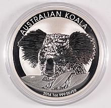 2014 AUSTRALIAN KOALA, ONE OUNCE .999 SILVER DOLLAR COIN, IN ORIGINAL CAPSULE