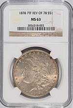 1878 7F REVERSE OF 78 MORGAN SILVER DOLLAR,  NGC MS-63   NICE!