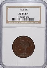 1854 LARGE ONE CENT NGC AU-55 BEAUTIFUL!