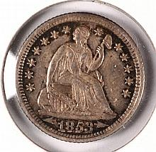 1853 SEATED HALF DIME XF-45