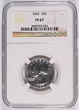 1962 WASHINGTON QUARTER, NGC PROOF-67!  SUPER