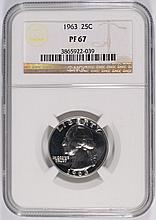 1963 WASHINGTON QUARTER, NGC PROOF-67!  SUPER