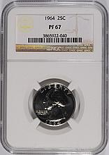 1964 WASHINGTON QUARTER, NGC PROOF-67!  SUPER