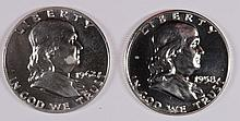 1958 AND 1962 GEM PROOF FRANKLIN HALF DOLLARS