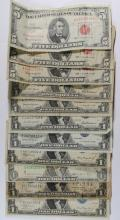 CURRENCY: 2-1935 SILVER $1 CERTS WITH DATE ON RIGHT LOWER, 1928-B $1.00 SILVER