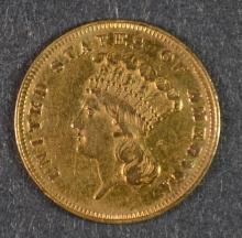 1859 $3 GOLD INDIAN PRINCESS HEAD CH BU