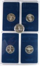 (5) U.S. COMMEM. SILVER DOLLARS NO BOX/COA: 2-1986 ELLIS ISLAND, 1993 MADISON/