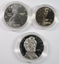 2009 LINCOLN PROOF SILVER DOLLAR + 1992 2 COIN UNC SET