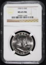 1959-D FRANKLIN HALF DOLLAR, NGC MS-65 FBL
