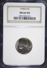 1978-D JEFFERSON NICKEL, NGC MS-66 5 FULL STEPS  RARE!