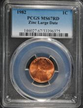 1982 ZINC LARGE DATE LINCOLN CENT, PCGS MS-67 RED