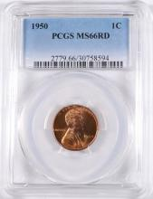 1950 LINCOLN CENT, PCGS MS-66 RED