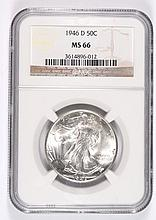 1946-D WALKING LIBERTY HALF DOLLAR NGC MS-66