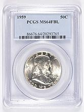 1959 FRANKLIN HALF DOLLAR PCGS MS-64 FBL