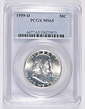 1959-D FRANKLIN HALF DOLLAR PCGS MS-65