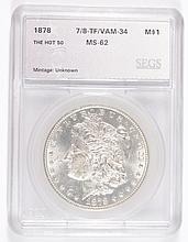 1878 7/8TF MORGAN DOLLAR SEGS MS-62 (VAM-34)