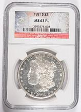 1881-S MORGAN DOLLAR NGC MS-63 PL