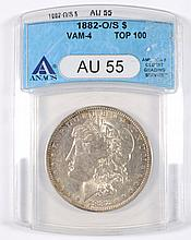 1882-O/S MORGAN DOLLAR ANACS AU-55