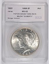 1922 PEACE DOLLAR SEGS MS-62 (VAM-2F)