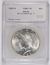 1922-D PEACE DOLLAR SEGS MS-63 (VAM1-D)