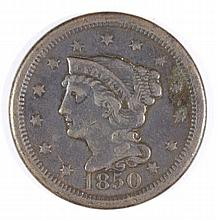 1850 LARGE CENT VF+ (DAMAGED)