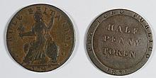 1797 MIDDLESEX TOKEN OFF CENTER F, & 1831 ISLE OF MAN HALF P. VF