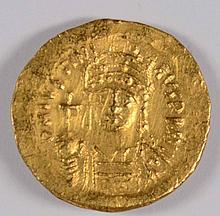 BYZANTINE GOLD SOLIDUS EMPEROR JUSTIN 565 AD AU/UNC