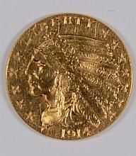 1914 $2.5 GOLD INDIAN WELL STRUCK MS-63