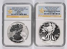 2 PIECE SET 2013-W AMERICAN SILVER EAGLE NGC PF-70, & SP-70