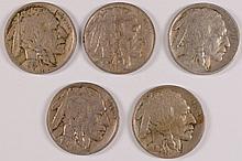 5 EARLY P MINT BUFFALO NICKELS 1913 T2 F, 15 XF, 16 XF, 17 VF, 19 XF