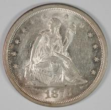 1875-S TWENTY CENT PIECE GEM BU+ BLAZER, WHITE, TONS OF LUSTRE! RARE!