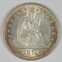 1874 SEATED LIBERTY QUARTER ARROWS CH AU ORIGINAL