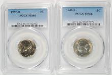 ( 2 ) PCGS JEFFERSON NICKELS: 1948-S MS66 & 1957-D MS66