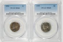 ( 2 ) PCGS JEFFERSON NICKELS: 1959 MS65 & 1954 MS66
